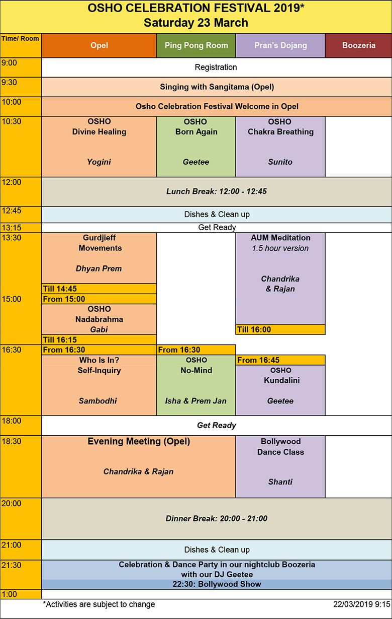 Osho Celebration Festival Program Saturday