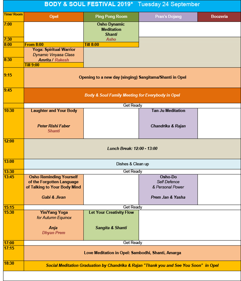 Body and Soul Festival program Tuesday